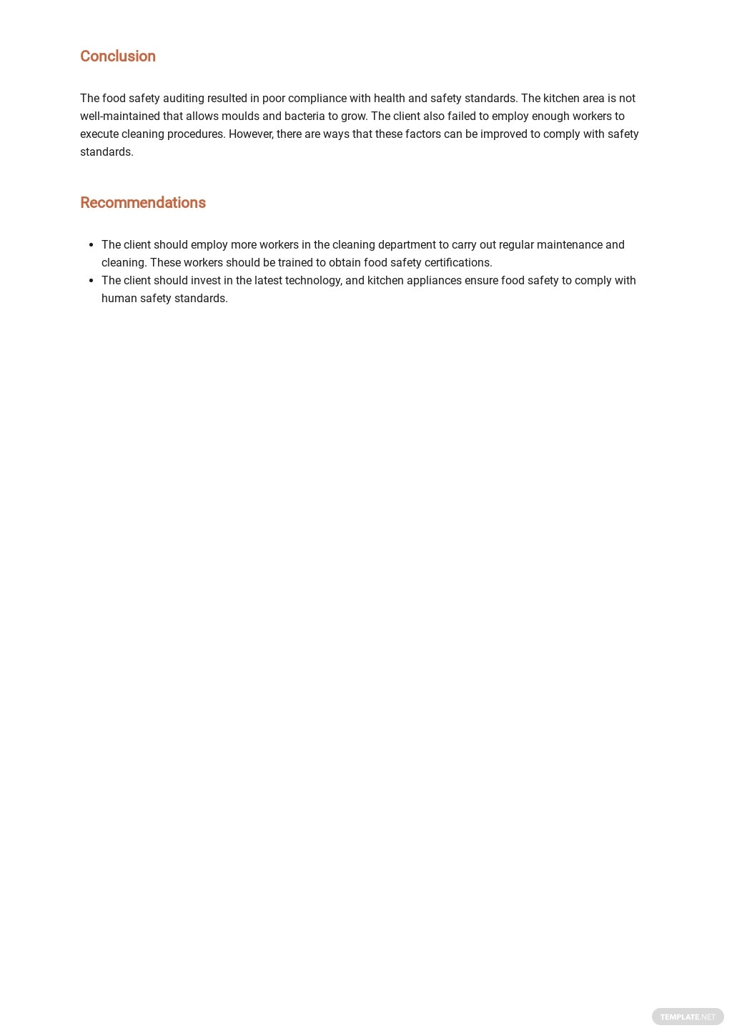 Free Food Safety Internal Audit Report Template 2.jpe