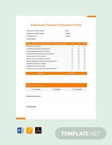 Free Substitute Teacher Evaluation Form Template