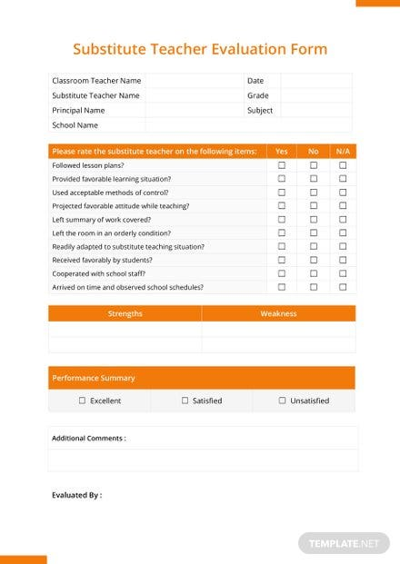 Substitute Teacher Evaluation Form Template