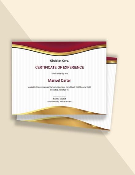 Editable Free Job Experience Certificate Template