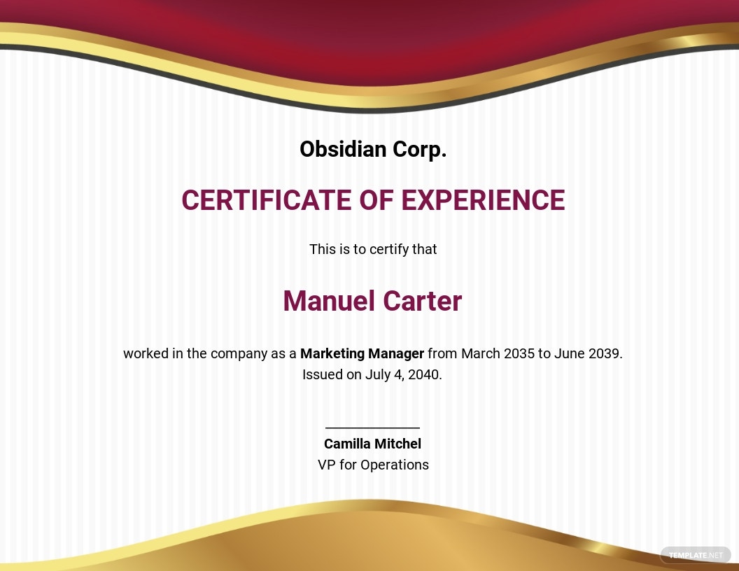 Free Job Experience Certificate Template