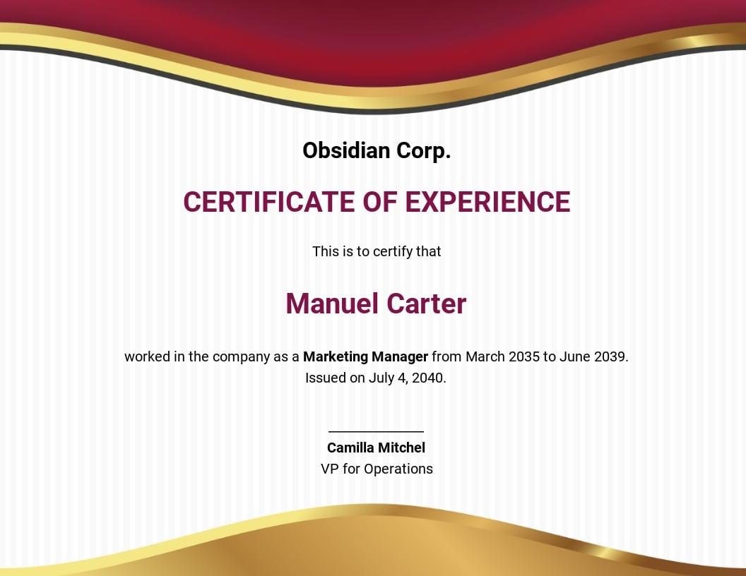 Free Job Experience Certificate Template.jpe