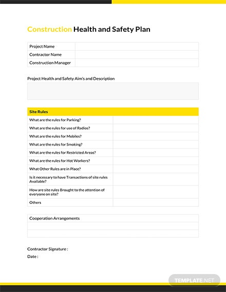 Construction Health and Safety Plan Template