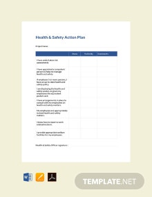 Free Health and Safety Action Plan Template
