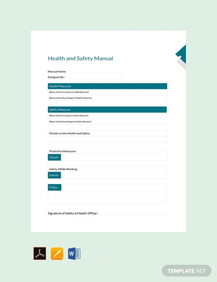 Free Health And Safety Manual Template
