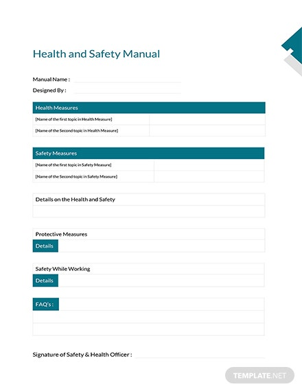 template health and safety manual  Health and Safety Manual Template: Download 56  Plans in Word, Pages ...