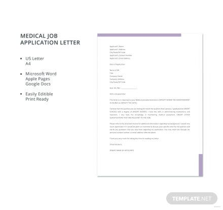 Free Medical Job Application Letter Template