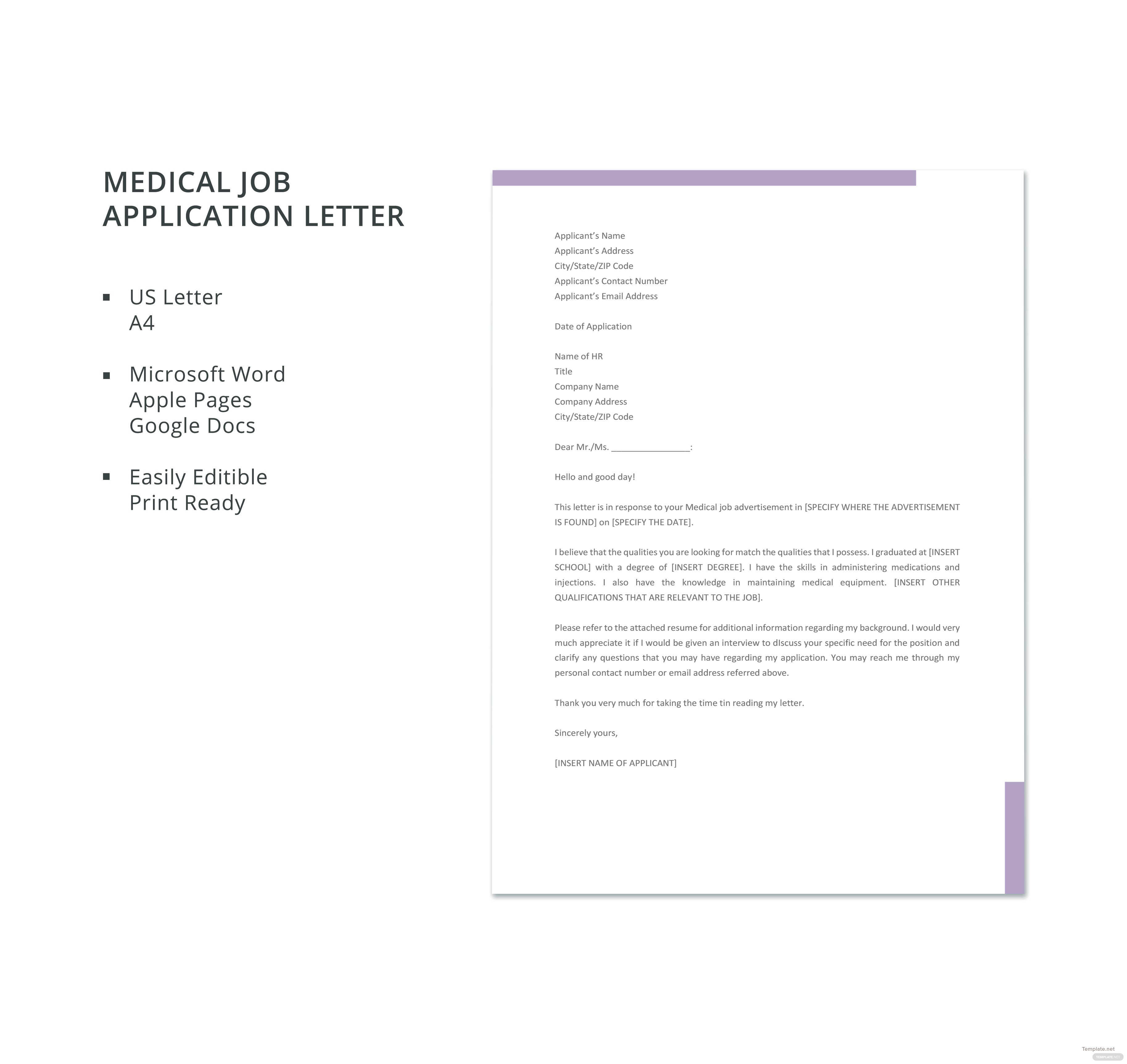 free medical job application letter template in microsoft word apple pages google docs. Black Bedroom Furniture Sets. Home Design Ideas