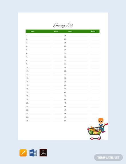 Free Sample Grocery List Template