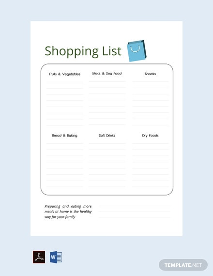 Free Grocery Shopping List Template