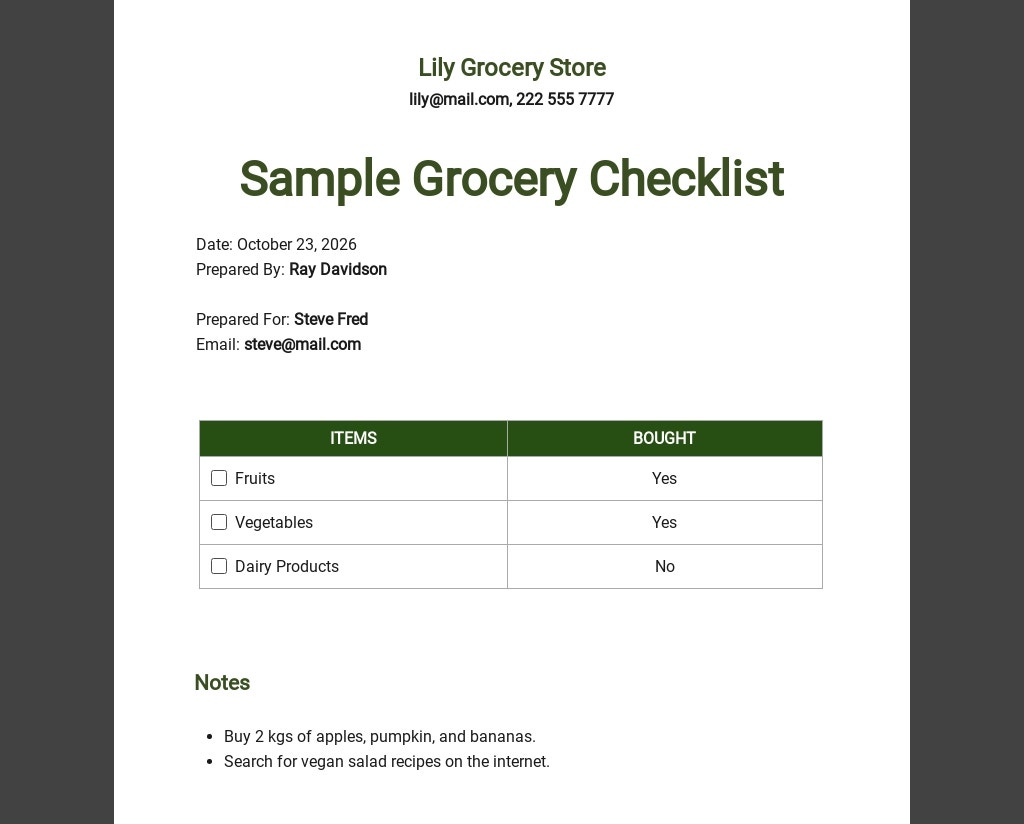 Free Sample Grocery Checklist Template