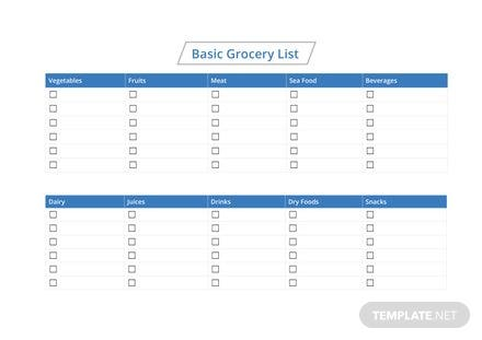 Basic Grocery List Template