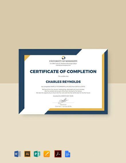 Free Internship Certificate Template