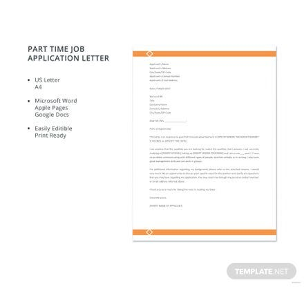 Free Part Time Job Application Letter Template