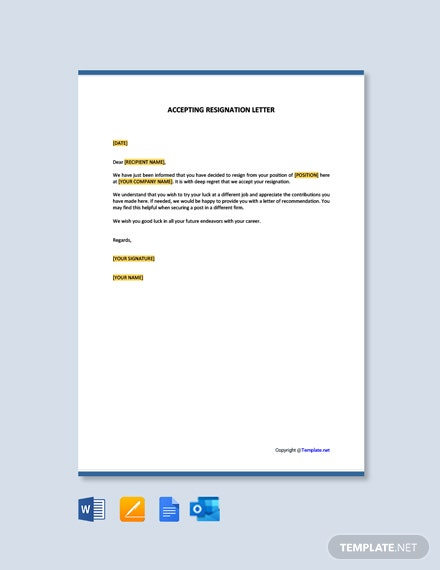 Free Accept a Resignation Letter Template