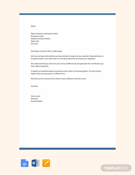 free immediate resignation letter template download 700 letters in