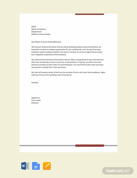 Free Resignation Acceptance Letter Template