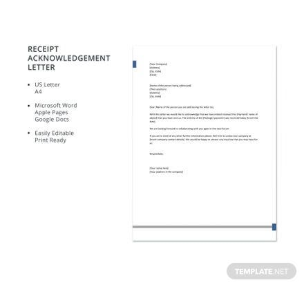 Free Receipt Acknowledgement Letter Template