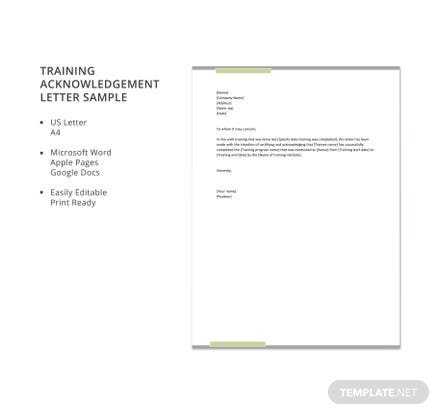 Free Training Acknowledgement Letter Sample