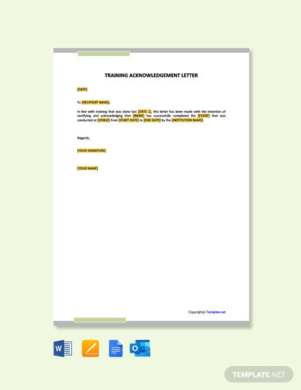 Training Acknowledgement Letter Sample