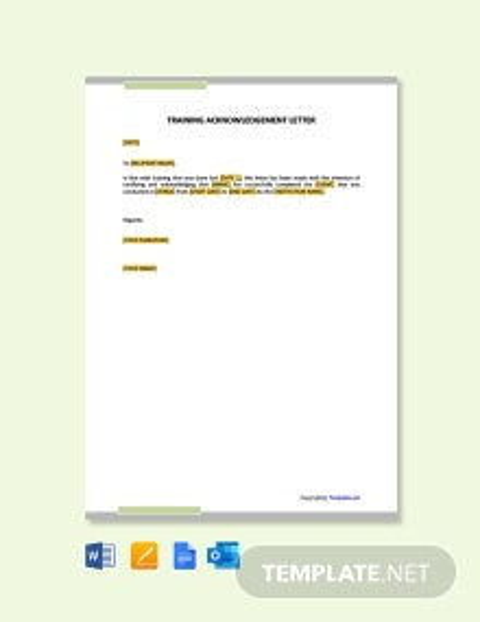 Free Training Acknowledgement Letter Sample