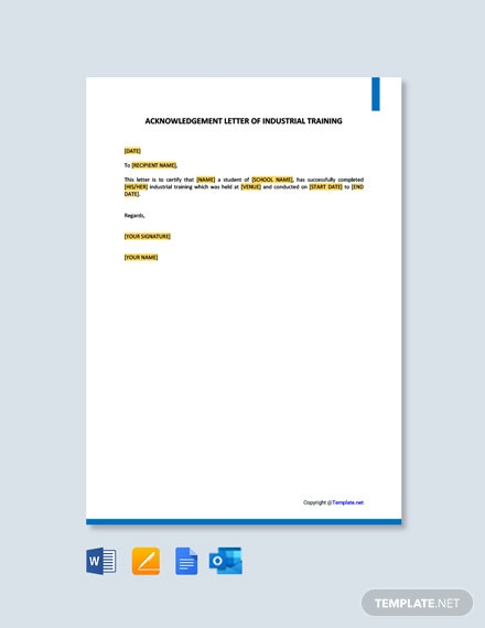 Free Acknowledgement Letter of Industrial Training