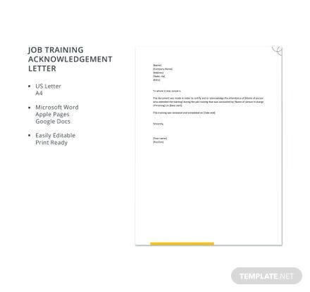 Free Job Training Acknowledgement Letter