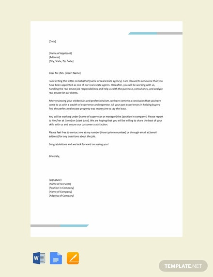 Free Real Estate Agent Appointment Letter