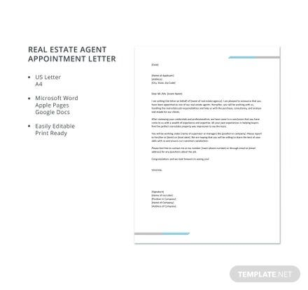 real estate agent appointment letter template download 700 letters