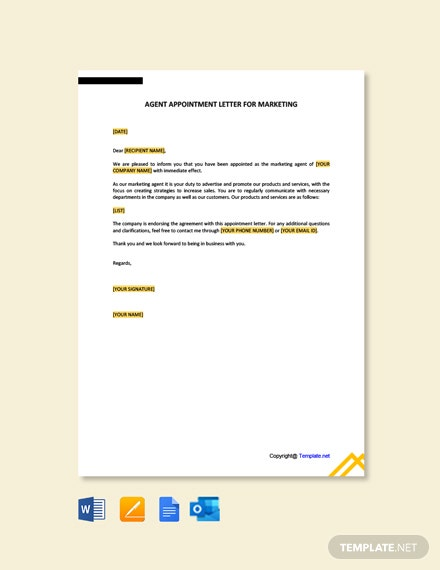 Agent Appointment Letter for Marketing