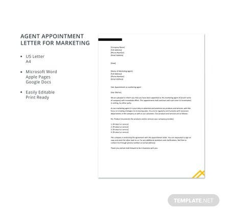 Free Agent Appointment Letter for Marketing