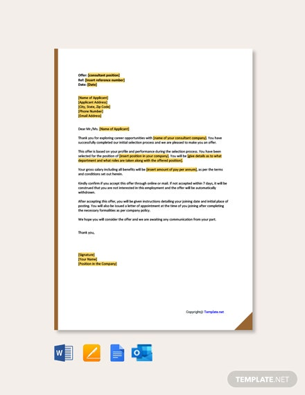 Free Consultant Offer Letter
