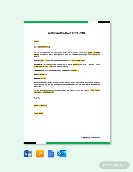 Free Business Consultant Offer Letter