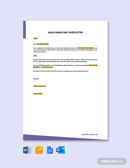 Free Sales Consultant Offer Letter