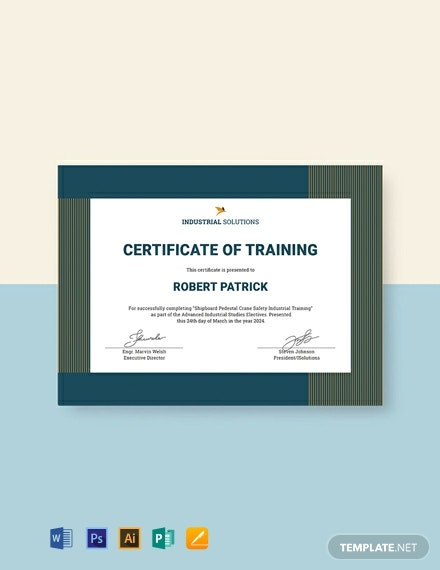 Free Industrial Training Certificate Template