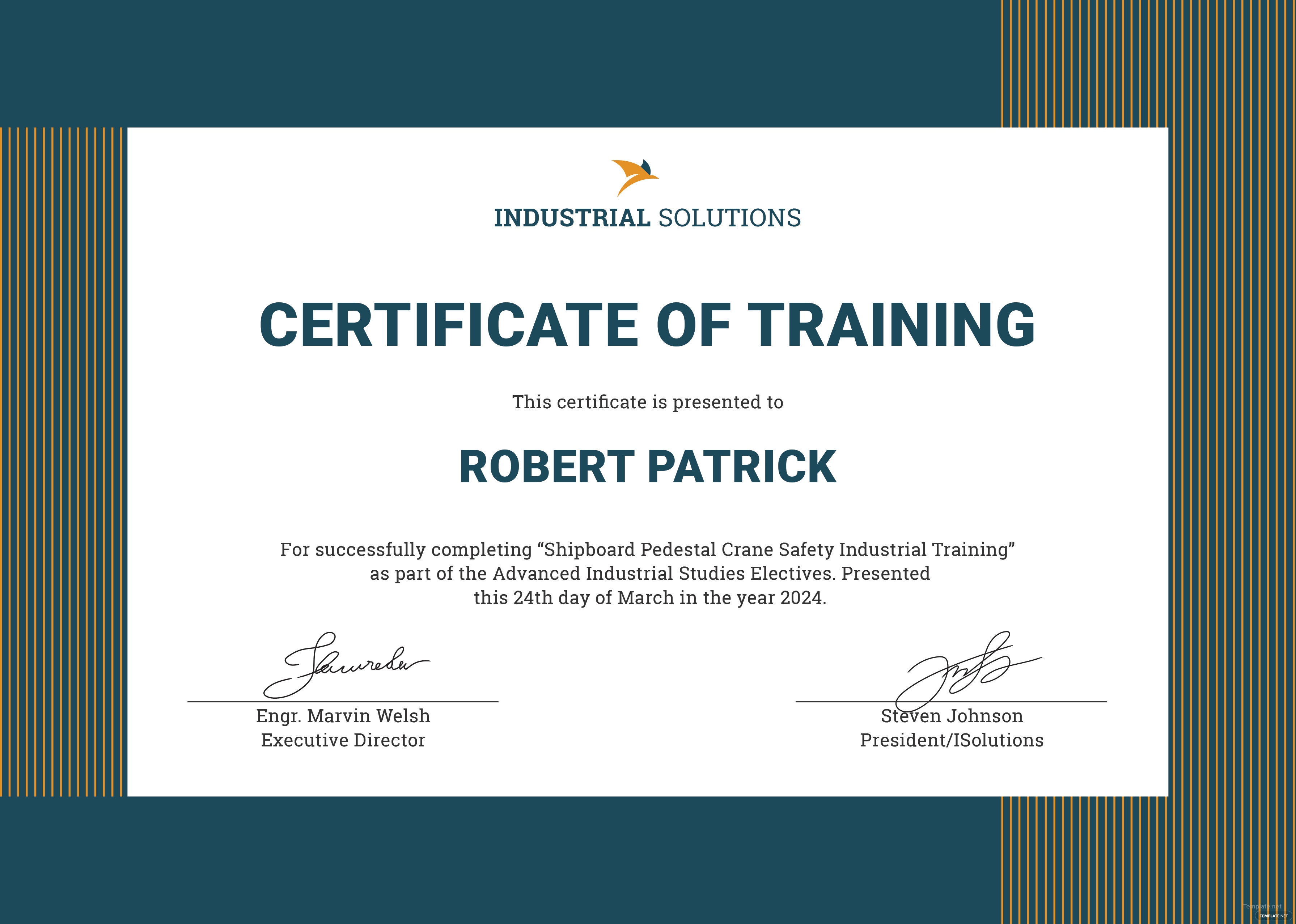 Free industrial training certificate template in adobe for Certification document template