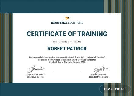 free industrial training certificate template free industrial training certificate template