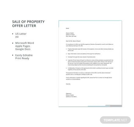 Free Sale of Property Offer Letter