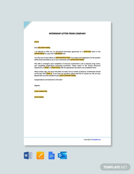 Free Internship Letter from Company