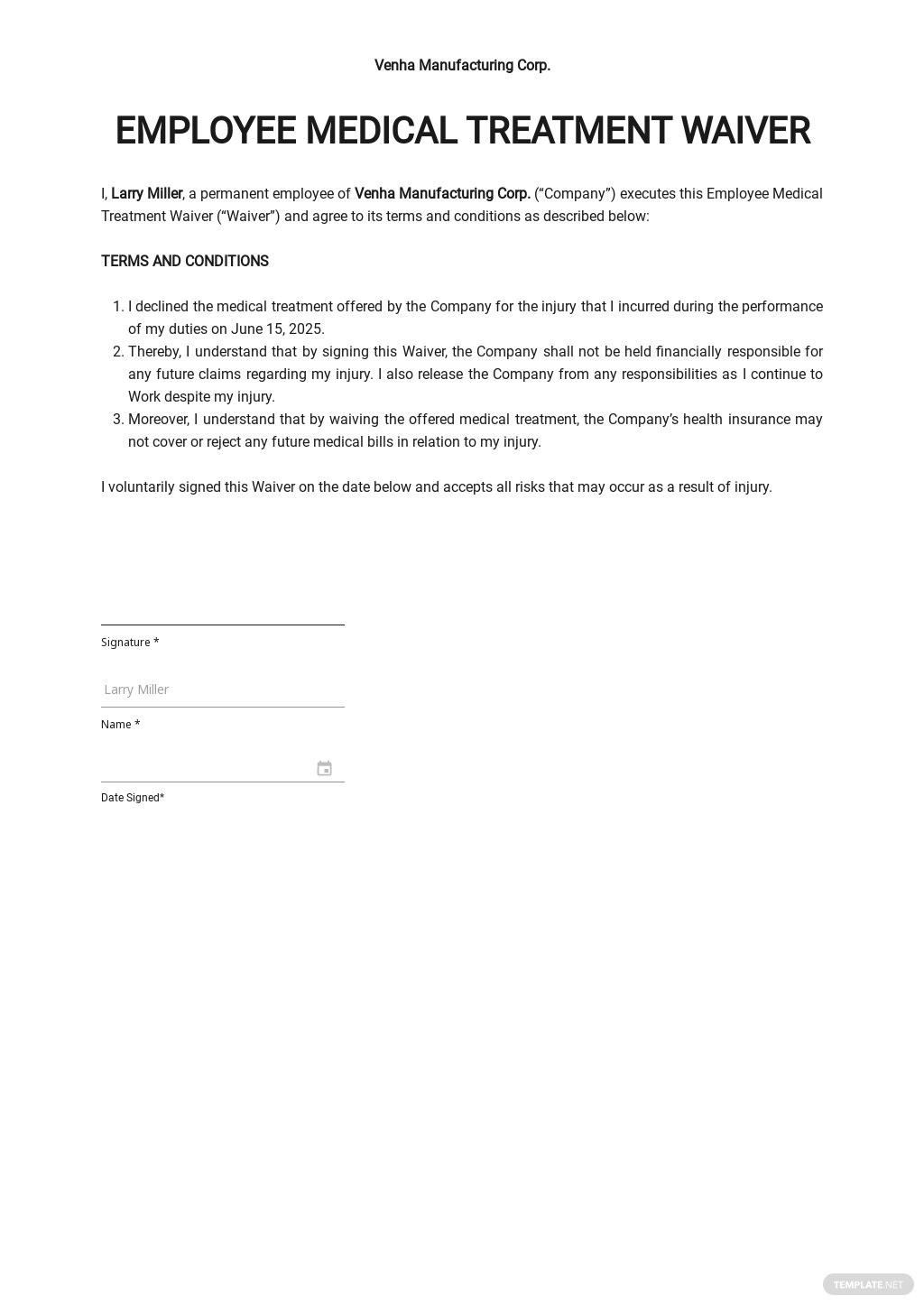 Employee Medical Waiver Form Template