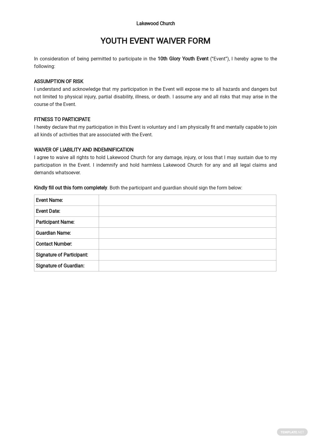 Youth Event Waiver Form Template