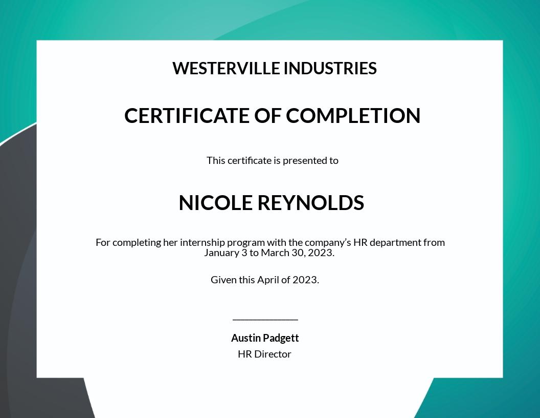 HR Internship Certificate Template
