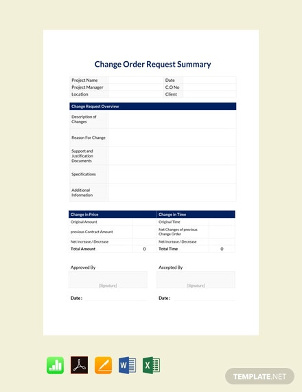 Free Change Order Request Summary