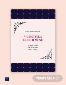 Valentine's Day Dinner Menu Template