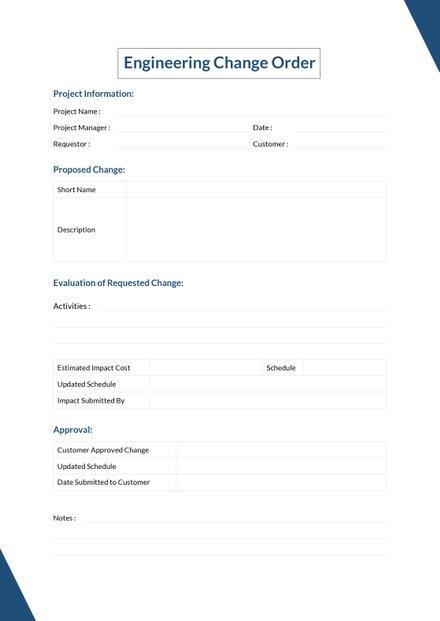 Change Order Log Template | Free Templates