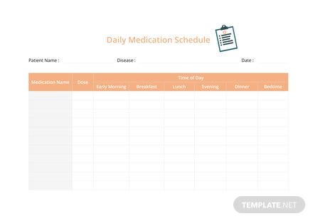 Daily Medication Schedule Template