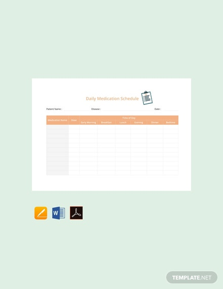 Free Daily Medication Schedule Template
