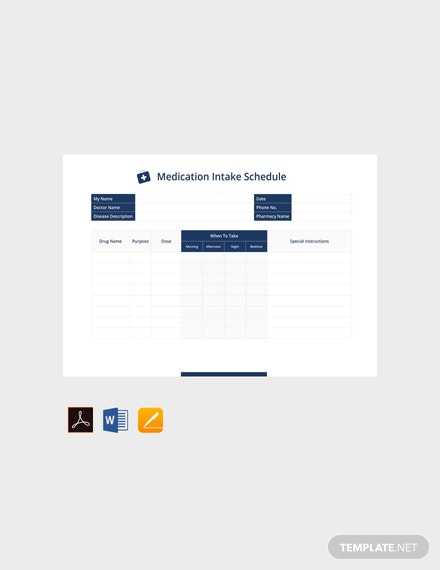 Free Medication Intake Schedule Template