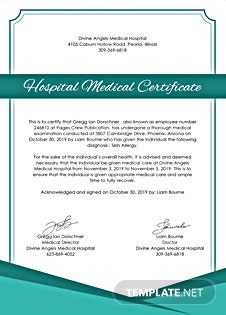 Free Hospital Medical Certificate Template