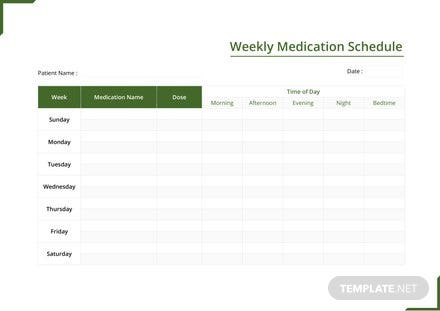 Weekly Medication Schedule Template